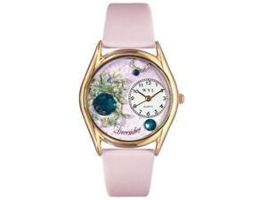 Birthstone: December Pink Leather And Goldtone Watch #C0910012