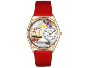 Quilting Red Leather And Goldtone Watch #C0440004