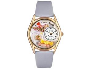 Cross Stitch Baby Blue Leather And Goldtone Watch #C0440009