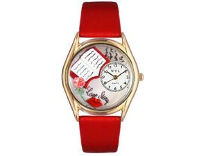Love Story Red Leather And Goldtone Watch #C0450001