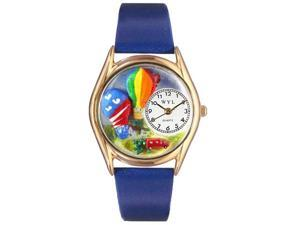 Hot Air Ballons Royal Blue Leather And Goldtone Watch #C1010018