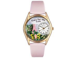 Time For The Cure Pink Leather And Goldtone Watch #C1110002