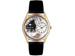 Music Piano Black Leather And Goldtone Watch #C0510001