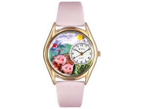 Pigs Pink Leather And Goldtone Watch #C0110002