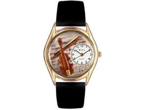 Violin Black Leather And Goldtone Watch #C0510002