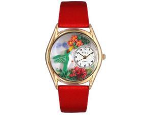 Hummingbirds Red Leather And Goldtone Watch #C1210003