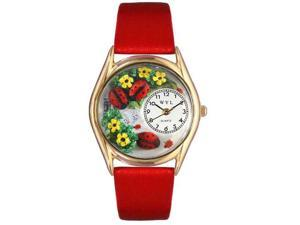 Ladybugs Red Leather And Goldtone Watch #C1210004