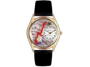 Electric Guitar Black Leather And Goldtone Watch #C0510006
