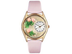Roses Pink Leather And Goldtone Watch #C1210005