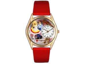 Clogging Red Leather And Goldtone Watch #C0510016