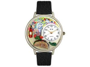 Taco Lover Black Leather And Silvertone Watch #U0310015
