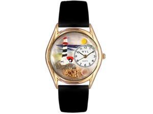 Lighthouse Black Leather And Goldtone Watch #C1210012
