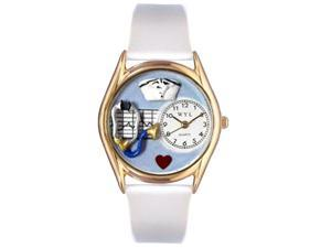 Nurse Blue White Leather And Goldtone Watch #C0610002