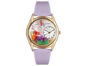 Gardening Lavender Leather And Goldtone Watch #C1211001