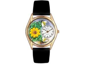 Sunflower Black Leather And Goldtone Watch #C1211002