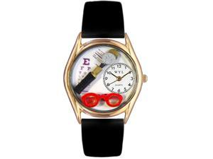 Opthamologist Black Leather And Goldtone Watch #C0610015