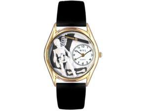 Orthopedics Black Leather And Goldtone Watch #C0610016