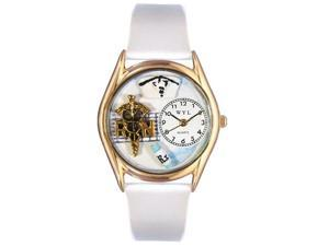 RN White Leather And Goldtone Watch #C0610019