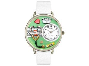 Nurse Green White Skin Leather And Silvertone Watch #U0620041