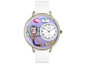 Nurse Purple White Skin Leather And Silvertone Watch #U0620042