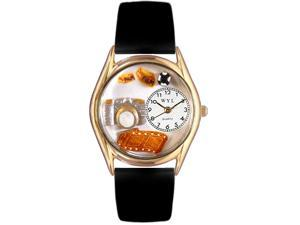 Photographer Black Leather And Goldtone Watch #C0620016