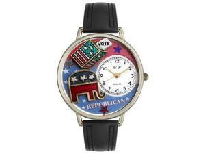 Republican Black Leather And Silvertone Watch #U1110003