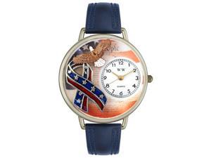 American Patriotic Navy Blue Leather And Silvertone Watch #U1220035