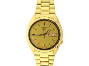 Seiko 5 Gold Tone Automatic Mens Watch SNXL72