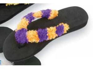 Red Carpet Studios 60403 Trend Stepper Fuzzy Flip Flops - Purple-Gold  - Size S-M