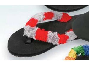 Red Carpet Studios 60412 Trend Stepper Fuzzy Flip Flops - Scarlet-Grey - Size S-M