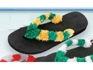 Red Carpet Studios 60430 Trend Stepper Fuzzy Flip Flops - Green-Gold - Size M-L