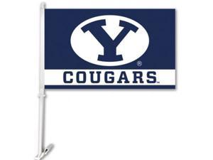BSI Products 97083 Brigham Young Cougars- Car Flag W-Wall Brackett