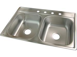 Franke Kindred 22in. X 33in. X 7in. Stainless Steel Double Bowl Drop In Sink  FDS704N