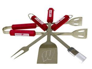 Bsi Products 61020 4 Pc Bbq Set - Wisconsin Badgers