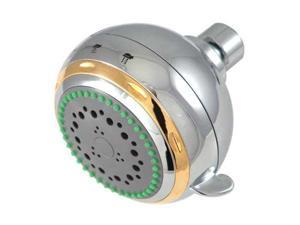 Kingston Brass KX1654 Kingston Brass KX1654 Fixed Shower Head, Chrome with Polished Brass Trim