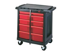 Rubbermaid Commercial 7734-88 Five-Drawer Mobile Workcenter- 32-1/2w x 20d x 33-1/2h- Black Plastic Top