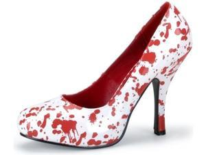 Pleaser Shoes 195940 Red Blood Splatter Shoes Adult White