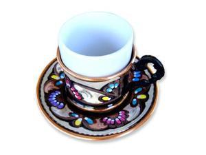 Turkish Coffee World TCW-0005AM Turkish Coffee Cup with Saucer - Copper