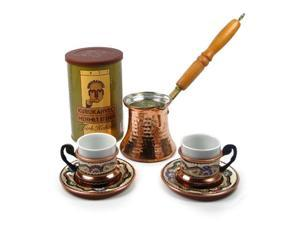 Turkish Coffee World TCW-0008AM Turkish Coffee Set for 2 with Premium Coffee