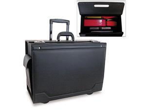 Stebco 341626BLK Wheeled Catalog Case  Leather-Trimmed Tufide  21-3/4 x 15-1/2 x 9-3/4  Black