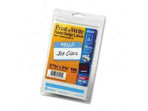 Avery 5141 Self-Adhesive Name Badges    Hello    2 1/4 x 3  Blue  100 Per Pack