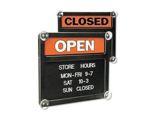 Double-Sided Open/Closed Sign w/Plastic Push Characters 14 3/8 x 12 3/8