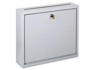 Buddy 562532 Wall-Mountable Interoffice Mail Collection Box  12w x 3d x 10h  Platinum