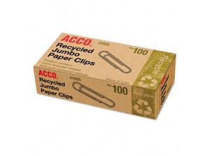 Acco 72525 Recycled Paper Clips  Jumbo  100 per Box  10 Boxes Pack