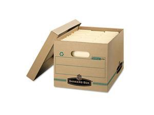 Fellowes 1277601 Stor/File Storage Box, Letter/Legal, Lift-off Lid, Kraft/Green, 12/Carton
