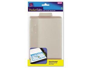 Avery 16364 PocketTab Repositionable Storage Pockets- 5 x 7 1/2- Taupe- 5/Pack