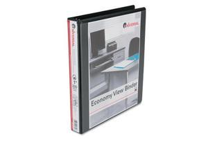 Universal 20741 Economy D-Ring Vinyl View Binder, 1'' Capacity, Black