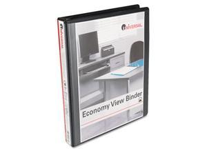 Universal 20961CT Round Ring Economy Vinyl View Binder, 1'' Capacity, Black, 12/Carton