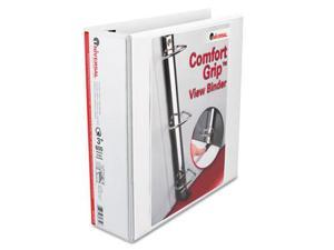 Universal 30752 Comfort Grip Deluxe Plus D-Ring View Binder, 3'' Capacity, White
