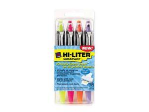 HI-LITER SmearSafe Highlighters Asst 4 Pk Chisel 49349 Pack Of 6